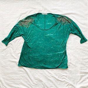 Green 3/4 Sleeve Embellished T-Shirt